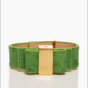 Kate ♠️ Spade kelly green leather bow bracelet